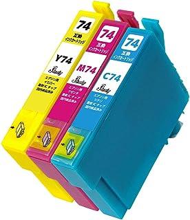 IC74(C/M/Y) エプソン用インクカートリッジ カラー3色パック 互換インク (最新ICチップ搭載/残量検知対応/デジタル説明書付き(QR)) 対応機種:PX-M5040C6 PX-M5040C7 PX-M5040F PX-M5041C6...
