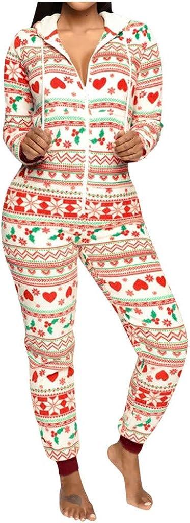 Women's Sexy Save money Santa Christmas Onesies Xmas Pajamas Fleece Charlotte Mall Thermal
