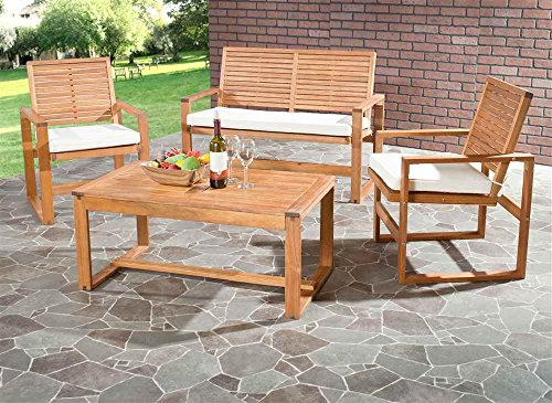 Hot Sale Safavieh Home Collection Hailey Outdoor Living Acacia Patio Set, Brown, 4-Piece