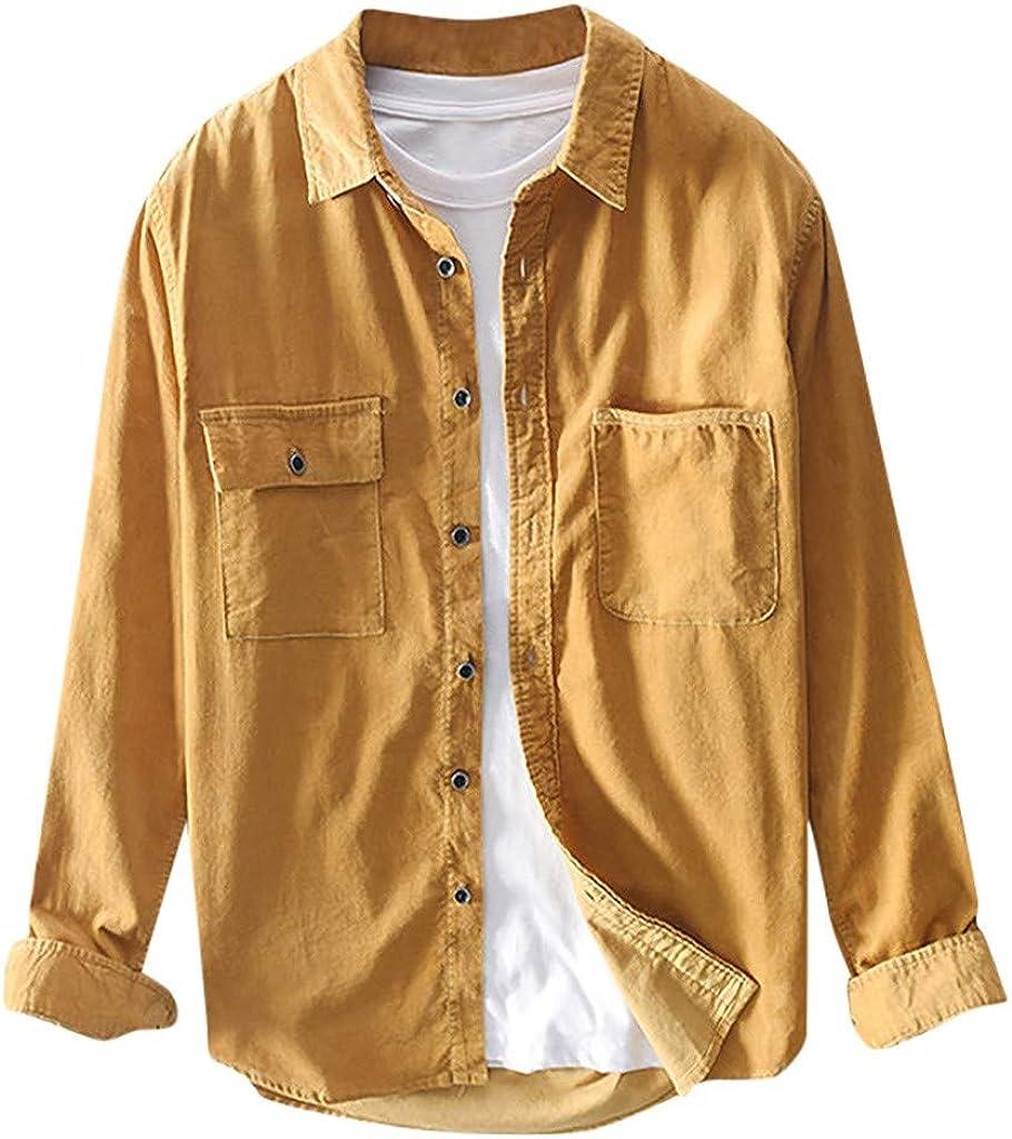 WUAI-Men Long Wholesale Sleeve Corduroy Shirt Casual Slim-Fit Plus High quality new Size Bu