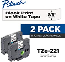 Brother Genuine P-Touch 2-Pack TZe-221 Laminated Tape, Black Print on White Standard Adhesive Laminated Tape for P-Touch Label Makers, Each Roll is 0.35