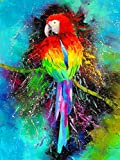 Ginfonr 5D DIY Mosaic Diamond Painting Kits Parrot Colorful Full Drill, Paint with Diamonds Art Animal Color Cross Stitch Embroidery Rhinestone Craft for Home Office Wall Decor 12x16 Inch