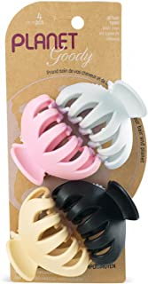 Goody Planet Goody Sustainable Spider Clips, Medium, Extra Strong, Neutral Colors, Pink, Black, Yellow and Gray, 4 Count