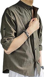 メンズリネンシャツ フランスリネン カジュアル 七分袖ゆったりgreeni M