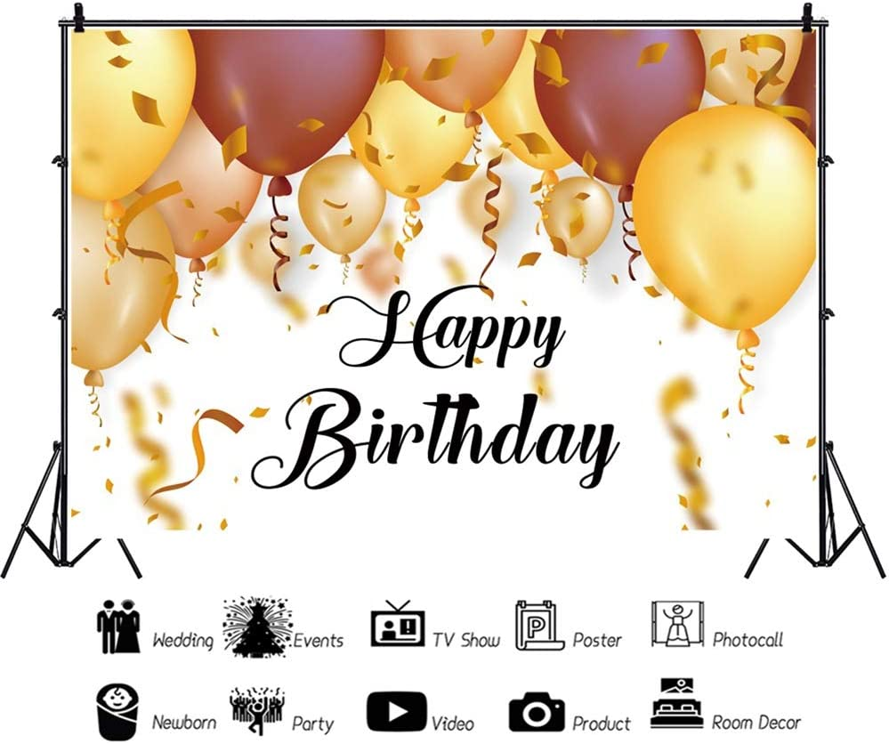 DORCEV 9x6ft Happy Birthday Photography Backdrop Gold Black Balloons Toy Car Decor Room Background Baby 1st Birthday Party Banner Supplies Photo Booth Studio Props Vinyl Wallpaper