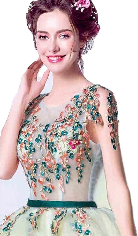 WWW USA Women's Sexy Dress Green Flower Sleeveless Slim Floor Length Bride Wedding Dress