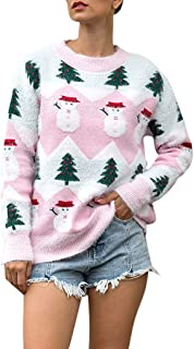 Women's Ugly Christmas Sweater Patterns Reindeer Pullover Jumper Cute Knitted Snowflakes Xmas Sweater by Forthery