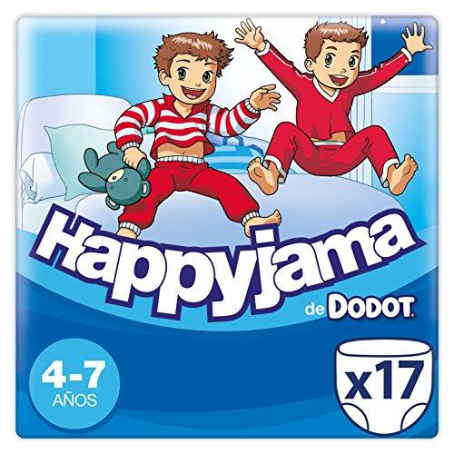 Dodot Happyjama - Pañales para Niño, 4-7 años, 17 pañales, Negro (DHJT717)