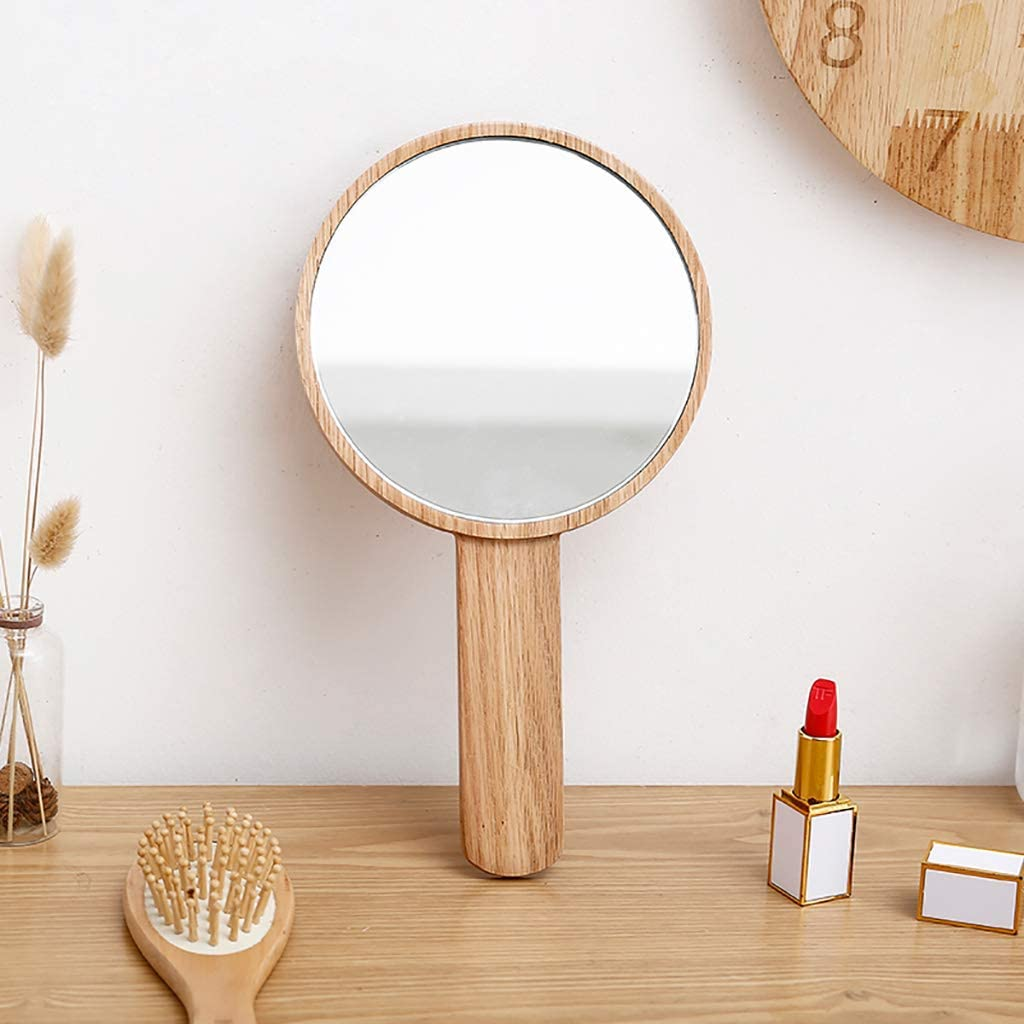 Mltdh Popular products Wooden Ranking TOP17 Hand-held Mirror Clear Handle Sturdy Makeup