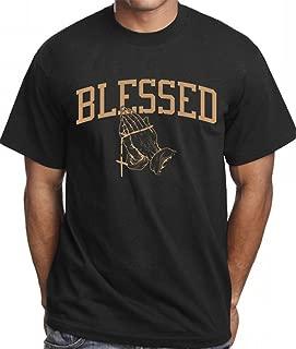 CaliDesign Men's Blessed T Shirt Gold Rap Hip Hop Urban Wear Folded Hands