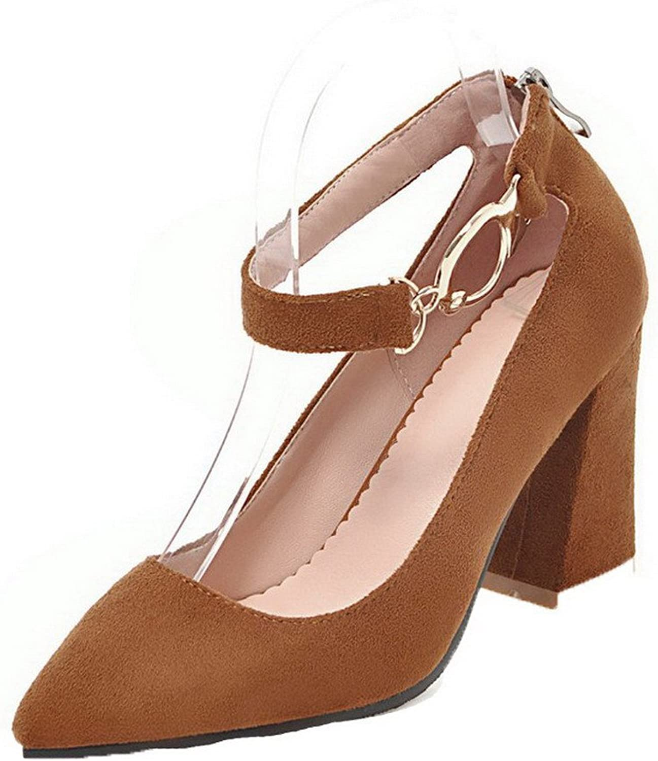WeenFashion Women's Solid Buckle Pointed-Toe High-Heels Pumps-shoes