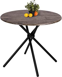 Kitchen Dining Table Industrial Brown Round Mid-Century Wood Coffee Table Office Home Easy-Assembly 31.4x31.4x29.5Inches for for Living Drawing Receiving Room