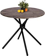 Kitchen Dining Table Industrial Brown Round Mid-Century Wood Coffee Table Office Home Easy-Assembly 35.4x35.4x29.5 Inches ...