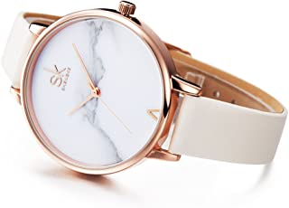 TILO Fashion Marble Dial Rose Gold Women Watches White Leather Band Luxury Quartz Watches Girls Ladies Wristwatch Relogio Feminino