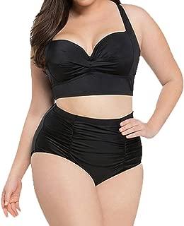 Plus Size Cross Bandage Two Piece Bikini Set Solid Bathing Suits Swimwear Beachwear