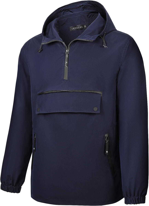 INVACHI Men's Pullover Ranking TOP3 Hooded Waterpro Zip Half New arrival Windbreaker