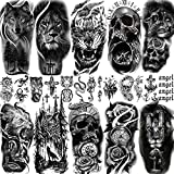 FANRUI 22 Sheets Realistic Black Animals Temporary Tattoos For Women Men Half Arm Sleeve, 3D Large Tribal Tiger Lion Death Skull Fake Tattoo Stickers Halloween, Flower Compass Wolf Owl Tatoos Anchor