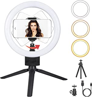 Dimmbare LED Ringleuchte mit Stativ Telefon Selfie Kamera Studio Desktop LED Beauty Kamera Ringlicht 3 Beleuchtungsmodi 10 Helligkeitsstufen Foto Video Make up Lampe für Live Stream, Videoaufnahme
