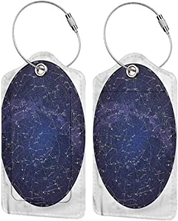 Baggage Travel Tag, Printed Luggage Tag, Address Card and Privacy Cover Constellation Sky Map Northern (1,2 & 4 Pack)