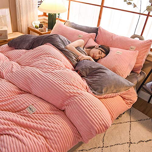 N / A Winter Warm Coral Fleece Pure Color Four-Piece Flyer Duvet Cover Sheet Three-piece Short Flannel-Double spell jade gray_1.8m bed 200 * 230cm four-piece suit