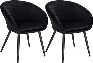 WOLTU 2X Sillas de Comedor Sillas de Cocina Dining Chairs Juego de 2 Sillas Tapizada Salón con Reposabrazos Sillas Terciopelo con Respaldo Patas de Metal Silla de Oficina Negro BH244sz-2