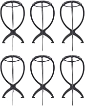 Sohapy 6 Pack 35cm Portable Wig Stand Holder, Durable Wig Dryer, Hair Hat Cap Display Tool(Black)