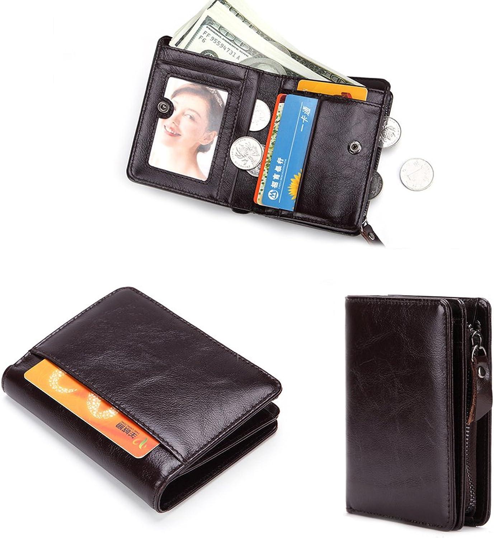 794cd204f718 Men's Leather Slim Fold Wallet Zipper Credit Card ID ID ID Window ...