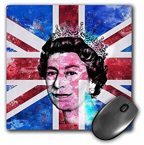 3dRose Mouse Pad Queen Elisabeth of England Portrait on British Union Jack Flag, 8 x 8' (mp_268392_1)