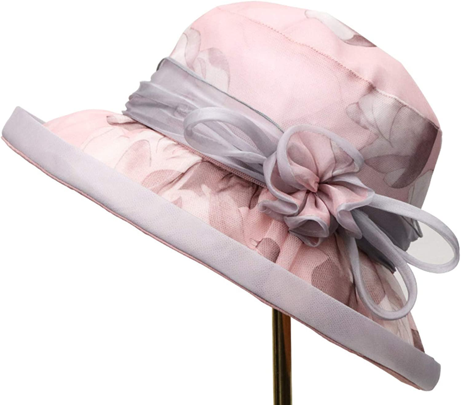 Bow Sun Hat Female, Spring and Summer Silk Hat, Sunshade Casual Fisherman Hat Female, Tourist Beach Hat, 5658cm