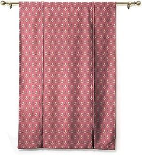 Andrea Sam Tie-Up Window Curtain Floral,Cream and Purple Tulip Flowers Repetitive Pattern Romantic Spring Design,Purple Cream Soft Pink,23