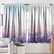 Elliot Dorothy Window Blackout Curtains Lavender,Oil Painting Style Flowers in Serene Meadows Abstract Artistic,Lavender Baby Pink Baby Blue,Rod Pocket Curtain Panels for Bedroom & Kitchen 52