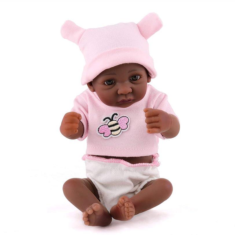 飾る若さはっきりとReborn Baby Dolls Reborn Baby Dolls Handmade Livelike Realistic Silicone Vinyl Lovely Black Baby Doll Soft Simulation Eyes...