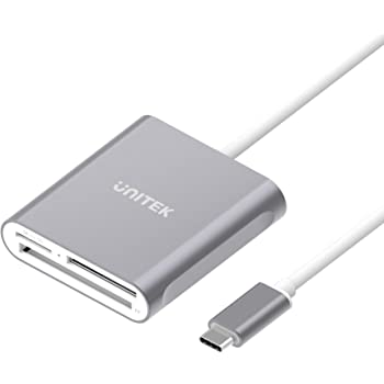 USB C SD Card Reader, Unitek Aluminum 3-Slot USB 3.0 Type-C Flash Memory Card Reader for USB C Device, Supports SanDisk Compact Flash Memory Card and Lexar Professional CompactFlash Card - Grey
