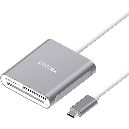 Unitek USB C SD カード リーダー アルミニウム 3 スロット USB 3.0 タイプ C フラッシュ メモリ カード リーダー USB C デバイス用 サポートSanDisk コンパクト フラッシュ メモリ カード と Lexar プロフェッショナル コンパクト フラッシュ カード 1フィット グレー/USB C