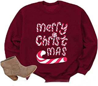 Comaba Women's Long-Sleeve Letters Printed Outwear Christmas Tees Top