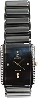 Casual Watch for Men by Olivera, Black, Rectangle, OGC0005