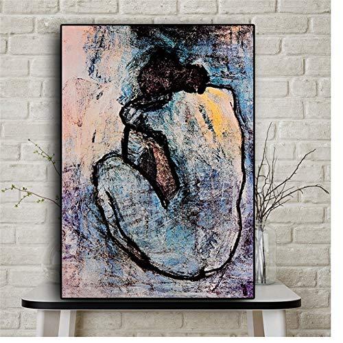 A&D Maison Rouge Blue Nude von Pablo Picasso Ölgemälde auf LeinwandPoster und Drucke Wandbild für Wohnzimmer Dekor -50x70cm Ohne Rahmen