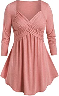Women Casual Plus Size Marled Sweetheart Collar Space Tunic Flare T Shirt Dress Tops