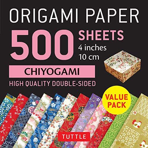"""Origami Paper 500 sheets Chiyogami Patterns 4"""" (10 cm): Tuttle Origami Paper: High-Quality Double-Sided Origami Sheets Printed with 12 Different Designs"""