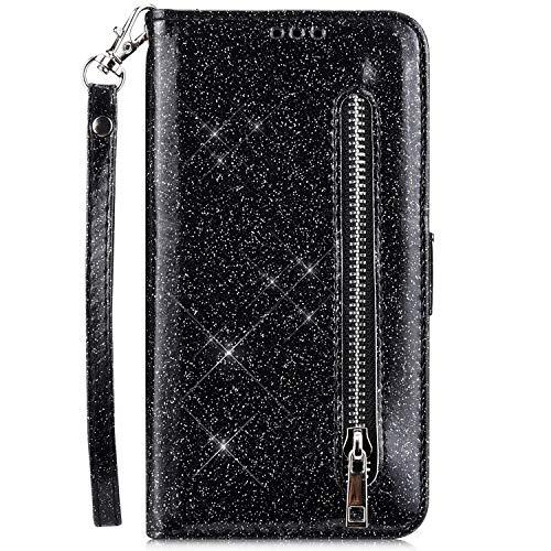 JAWSEU PU lederen portemonnee Flip Case compatibel met Huawei Mate 20 Lite Glitter Black