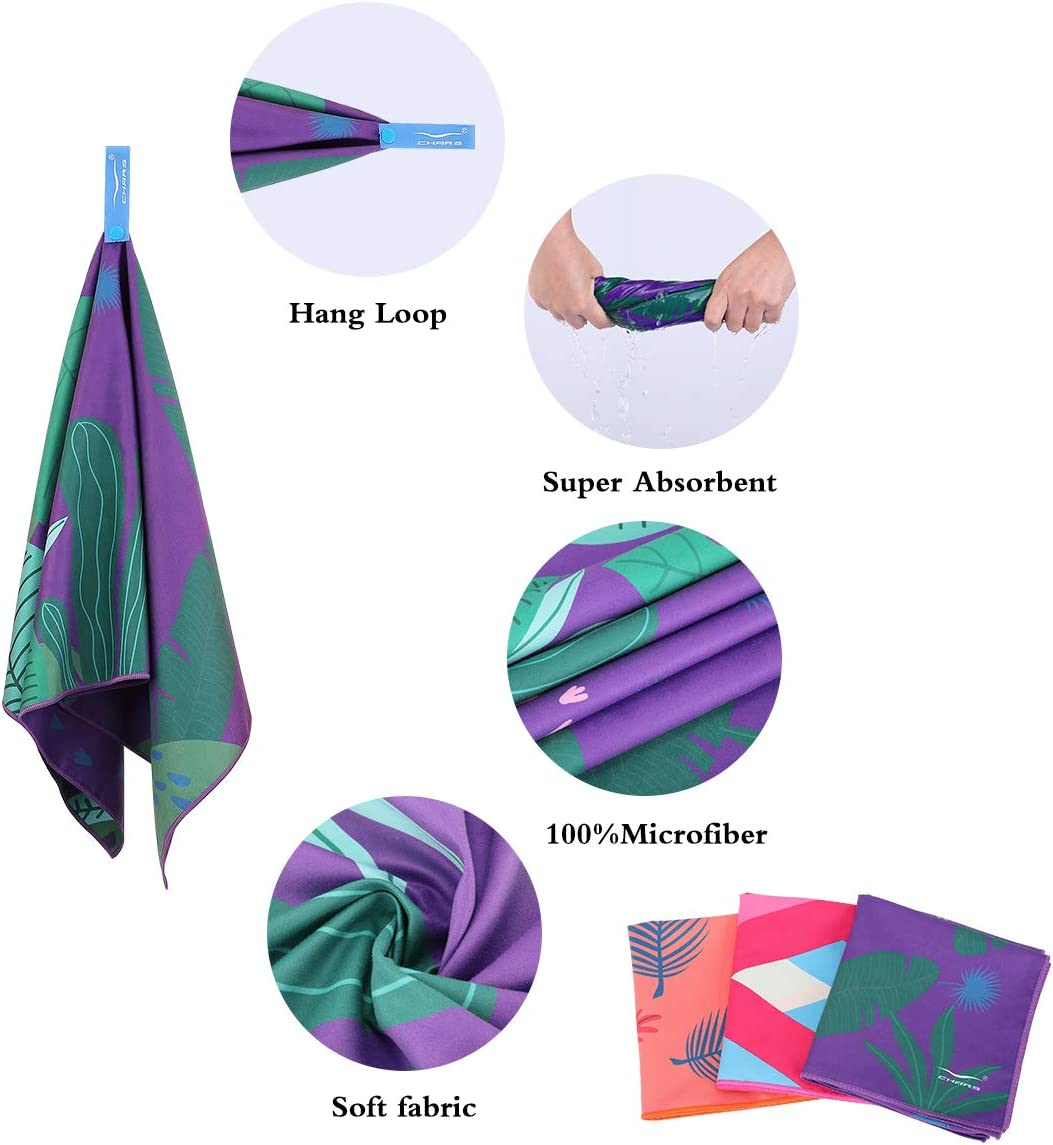 CHARS Quick Dry Beach Towel Double Sided Printed Microfiber Sports Towel Ultra Compact Travel Towel Sand Free Lightweight Beach Towel Suitable for Gym and Picnic Camping Yoga 15 x 30 inches