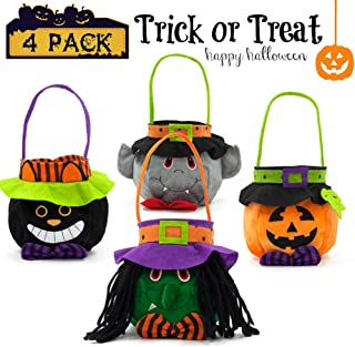 Halloween Hand Candy Bags Pumpkin Kids Trick-or-Treat Party Costume Party Favors Candy Buckets (4 pieces)