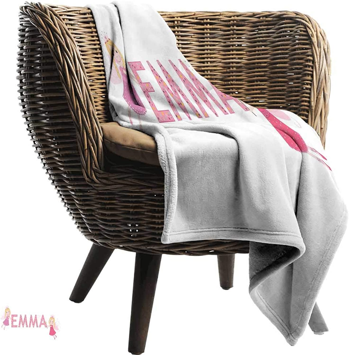 Emma King Size Weighted Blanket Cute Fairy Princesses Holding a Popular Widespread Girl Name with Polka Dots Pattern