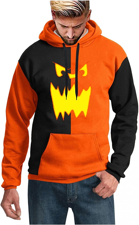 Men's Halloween Swatshirt Casual Lightweight Long Sleeve 3D Printing Loose Hooded Shirt Blouse with Pocket