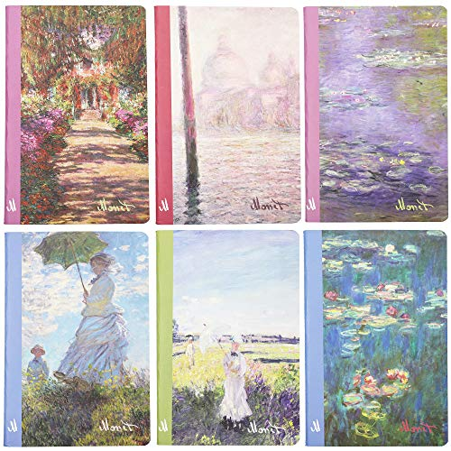 Claude Monet Soft Cover Travel Journal Notebooks (A5 Size, 6 Pack)