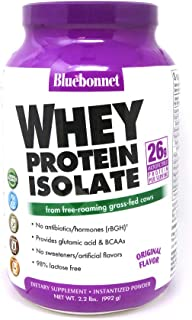 Bluebonnet Nutrition Whey Protein Isolate Powder, Whey from Grass Fed Cows, 26 Grams of Protein, No Sugar Added, Non GMO, ...
