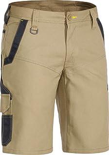 BISLEY WORKWEAR Flex & Move Cotton Button Zip Fly Contrast Belt Loops Stretch Short Khaki REG 82
