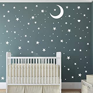 Easma Star Wall Decals (221stars) 3 Size White Stars and Moon Decals Removable Peel and Stick Stickers Fits Kids Room Decor