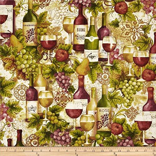 Robert Kaufman Kaufman Vineyard Collection Wine Bottles Merlot Fabric By The Yard