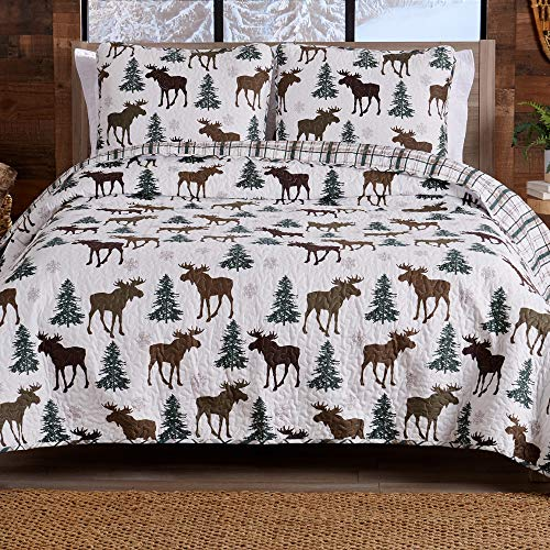 Lodge Bedspread Twin Size Quilt with 1 Sham. Cabin 2- Piece Reversible All Season Quilt Set. Rustic Quilt Coverlet Bed Set. Wilderness Collection (Moose - Chocolate)